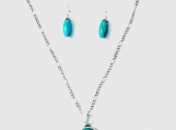 Turquoise Colored Howlite Pendant and Matching Teardrop Earrings