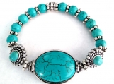 Turquoise Colored Howlite Stretch bracelet and Oval Center Stone