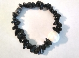 Unique Black Jasper Stone Bracelet with Ceramic Pearl Center