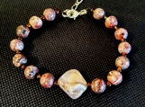 Unique Leopard Jasper Stone Bracelet with Natural Shell Center
