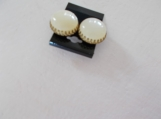 Vintage 1950's button earrings studs large white and gold