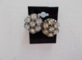 Vintage 1950's button earrings studs rhinestones