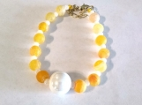 Yellow Crackle Agate Bracelet with Ceramic Pearl Center