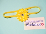 Yellow with White Dots Flower Baby Headband