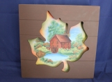 Autumn Mill Landscape in Maple Leaf Cut Out