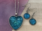 Blue Haze Heart and Dangle Earrings