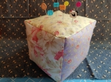 Cube PinKushion-Soft Floral Colors 4.5x4.5x4.5