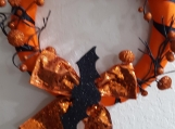 Bat & Pumpkin Halloween Wreath