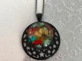 Stars Moon Celestial Black Pendant Necklace