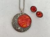 Moon Stars Celestial Orange Pendant and Earrings