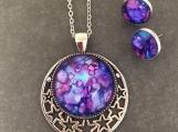 Moon Stars Celestial Purple Pendant and Earrings