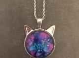 Purple Cat Pendant Necklace