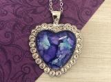 Rhinestone Blue Heart Pendant Necklace