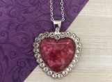 Rhinestone Pink Heart Pendant Necklace