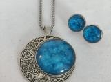 Stars Moon Celestial Blue Pendant & Earring Set