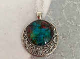Stars Moon Celestial Turquoise Pendant Necklace
