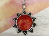 Sunflower Daisy Red Pendant