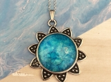 Sunflower Daisy Teal Pendant Necklace