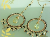 Viena Earrings -14k Gold Fill , Swarovski Crystal, Lemon Quartz , Black Garnet-
