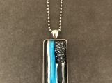 Blue Line Flag Glass Pendant