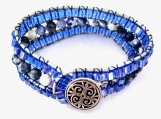 Exquisite Triple Strand Sodalite Leather Bracelet