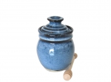 Honey Pot with Dipper - Pacifica Blue Glaze