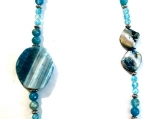 Stunning Blue Agate Gemstone and Shell Necklace
