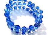 Triple Strand Sapphire & Crystal Fire Polished Stretch Bracelet