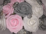 12 inch pink grey and white wedding bouquet