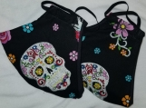 2 Pack - Day of the Dead Glittery Sugar Skulls Print Facemasks