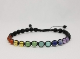 7 Chakra Bracelet for Women / Yoga Reiki Healing Balancing Jewelry - 4 mm Beads - Adjustable Length 7.5-9.5 inches