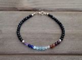 7 Chakras Bracelet - Healing Jewelry - Reiki - Yoga - Balancing - 3 mm beads - Gold Filled - High Quality