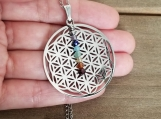 7 Chakras Necklace - Flower of Life - Healing Jewelry - Reiki - Yoga - Balancing - Stainless Steel