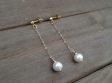 9 mm Natural Cultured Freshwater Pearls, Dangle & Drop Earrings, Gold Filled and Stainless Steel, Golden, Bridesmaid Earrings