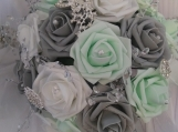 12 inch mint green and grey wedding bouquet