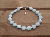 Birthstone Bracelet - Aquamarine - March Birthstone - Sterling Silver - 7-8 inches