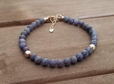 Birthstone bracelet - December Birthstone - Tanzanite - Gold Filled - 7-8 inches - 5 mm beads