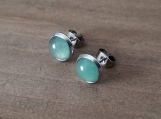 Gemstone Earrings  - 8 mm Green Aventurine - Stainless Steel -  gift for girls