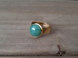 Gemstone Finger Ring - 10 mm Natural Green Aventurine - Golden - Stainless Steel - Adjustable size from 5 to 7 - gift for girls