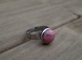 Gemstone Finger Ring - 10 mm Natural Rhodonite - Stainless Steel - Adjustable size from 5 to 7 - gift for girls