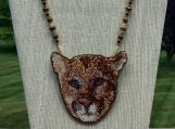 Hand Stitched Mountain Lion Necklace/Pin