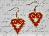 Hand Stitched Open Heart Earrings