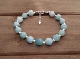 Healing Bracelet - Amazonite - Honour - Communication - Clarity - Eloquence - Trust - Self love - Sterling Silver - 8 mm beads - 7-8 inches