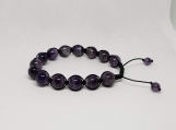 Healing Bracelet - Amethyst - Inner peace - Wisdom - Meditation - Balance - Relieves stress - Adjustable Length 7-9 inches - 10 mm beads