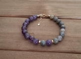 Healing Bracelet - Amethyst + Labradorite - Gold Filled - 7-8 inches - 8mm beads