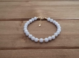 Healing Bracelet - Blue Lace Agate - Hope - Cleansing - Harmony - Protection - Truth - Calming - Gold Filled - 6 mm beads - 7-8 inches
