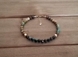 Healing Bracelet - Chrysocolla - Serenity - Peace - Patience - Calmness - Meditation - Honesty - Gold Filled - 5 mm beads - 7-8 inches