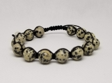 Healing Bracelet - Dalmatian Stone - Adjustable Length 7.5 -9.5 inches - 10 mm beads