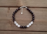 Healing Bracelet - Garnet + Rose Quartz - Sterling Silver - Adjustable Length 6.5 - 7.5 inches - 6mm beads