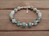 Healing Bracelet - Green Jasper - Sterling Silver - 7-8 inches - 8 mm beads